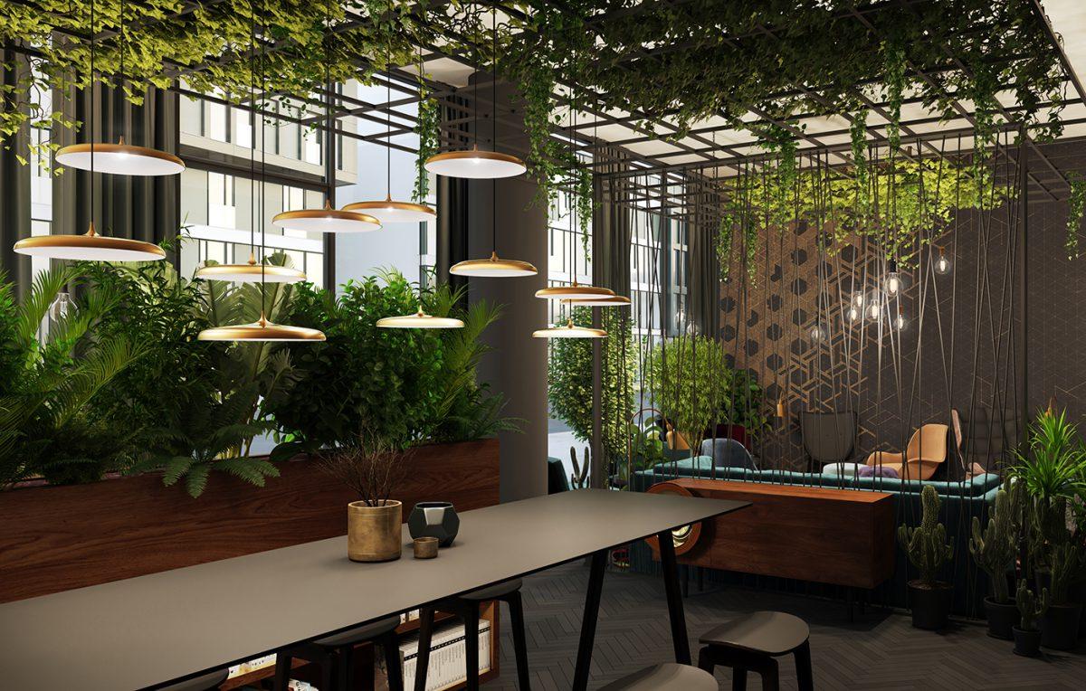 Lobby im Apartmenthaus Düsseldorf Medienhafen, Eingang zum möblierten Business-Apartment, Wohnen auf Zeit und Zwischenmiete